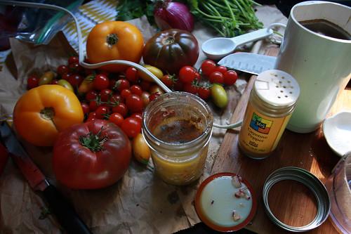 adding in the coriander & cayenne