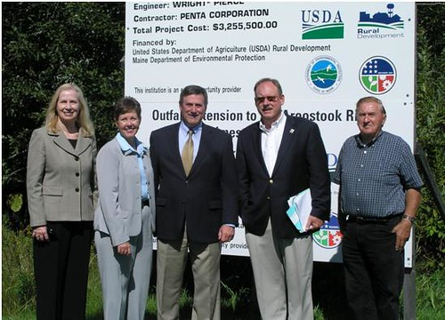 USDA Rural Development State Director Virginia Manuel; Maine Department of Environmental Protection Agency (DEP) Acting Commissioner Pattie Aho; Loring Development Authority CEO/President Carl Flora; Environmental Protection Agency (EPA) Region 1 Administrator Curt Spalding; and Greater Limestone Regional Wastewater Treatment Facility Chairman Neal LeightonUSDA Rural Development State Director Virginia Manuel; Maine Department of Environmental Protection Agency (DEP) Acting Commissioner Pattie Aho; Loring Development Authority CEO/President Carl Flora; Environmental Protection Agency (EPA) Region 1 Administrator Curt Spalding; and Greater Limestone Regional Wastewater Treatment Facility Chairman Neal Leighton