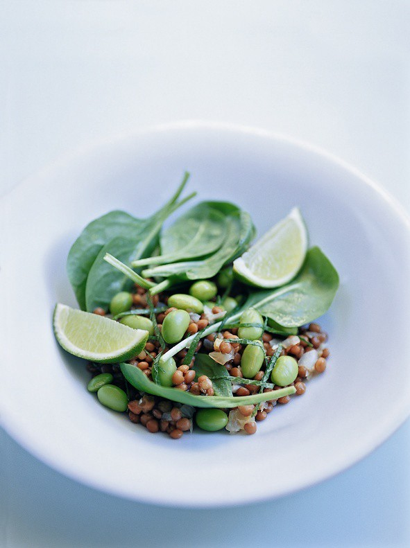 1 MarieClaire Italy-Spinach Edamame Lentil, Grain Lime Salad Idea