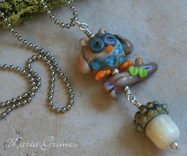 Midnight Owl- Lampwork Necklace