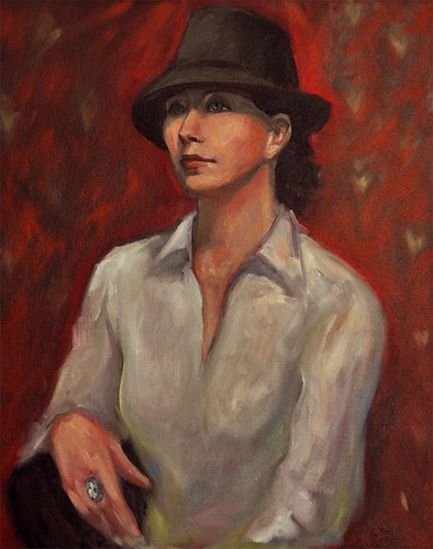 Woman with black hat by Gayle Bell