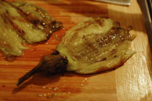 Grilled and Flattened Aubergine