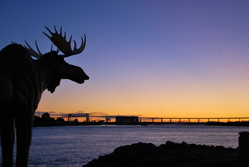 sunset at the soo