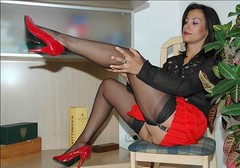 AL 1 (waspden) Tags: black stockings high thighs heels stocking stiletto tops nylons garterbelt redheels legsup minskirt seamed
