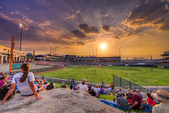 girl, rock, sunset, and baseball (J.R.Photography) Tags: light sunset people sun clouds canon fire baseball crowd dell 7d express rays minor sunbeam 1022mm hdr ballpark league blend delldiamond roundrockexpress albuquerqueisotopes