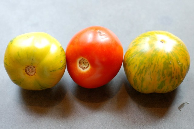 Heirloom tomato trio by Eve Fox, Garden of Eating blog, copyright 2011