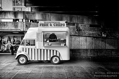 Fish and chips (michald*) Tags: street bw london car canon streetphotography southbank fishandchips fishchips londonist mdfav