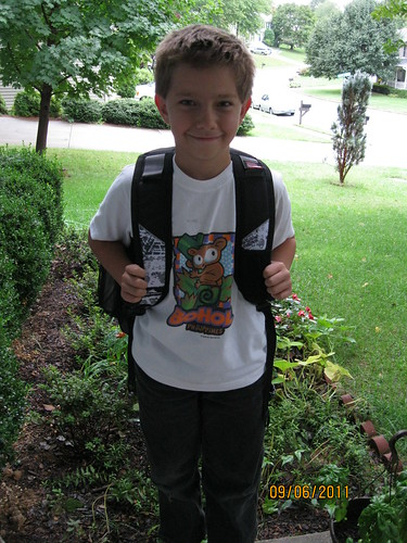 9/6/11: New 5th grader, big man on campus.