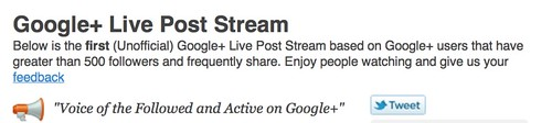 Google+ Live Post Stream: