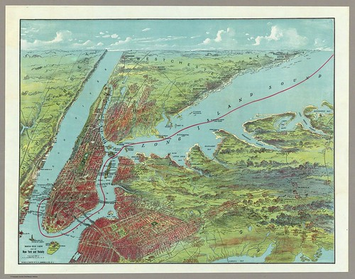 Birds Eye View Map Of New York And Vicinity 1909
