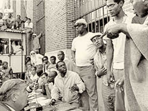 A press conference held by the inmates at Attica Prison when it was taken over beginning on September 9, 1971. This year represents the 40th anniversary of the uprising. by Pan-African News Wire File Photos