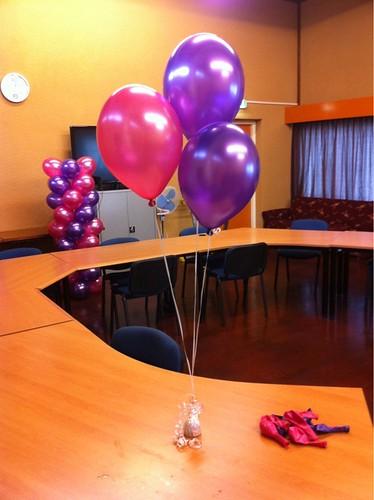 Tafeldecoratie 3ballonnen Paars en Fuchsia