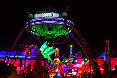 Daily Disney - Tomorrowland (Gary Burke.) Tags: travel vacation green sign night canon eos rebel lights evening orlando colorful neon florida entrance disney disneyworld gateway amusementpark fl wdw dslr waltdisneyworld tomorrowland themepark mk magickingdom garyburke klingon65 t1i canoneosrebelt1i