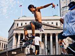In flight (sjmgarnier) Tags: street newyorkcity people urban usa newyork men boys inflight jump jumping skateboarding manhattan skaters september tricks skateboard practice portfolio skateboards youngpeople practicing youngmen 2011 foleysquare colorstreetphotography skateboardtricks usjusticedepartment