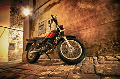 Motorcycle in a narrow street (Alja Vidmar | ADesign Studio) Tags: urban motorcycle piran slovenija hdr narrowstreet