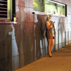 Beside The Party Scene (skubmic) Tags: street light party girl wall night shadows stuttgart skubmic theodorheussstrase