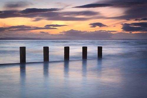 Groynes in the gloaming at Findhorn by chris_thomson_1274