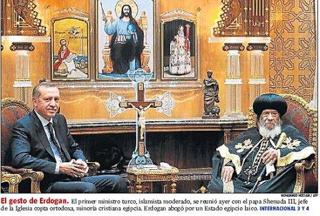 11i15 LV Erdogán con patriarca iglesia copta egipcia