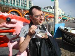 Peter eating jellied eel