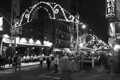 Littly Italy Overhead (mheidelberger2000) Tags: street nyc newyorkcity original people urban blackandwhite night downtown manhattan littleitaly lowermanhattan iso1600 unedited