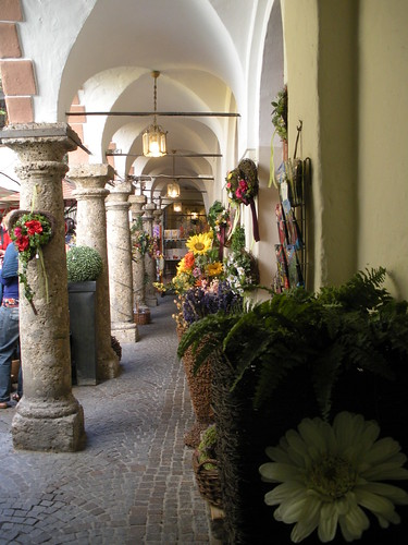 Beautiful flower market in Salzburg Austria