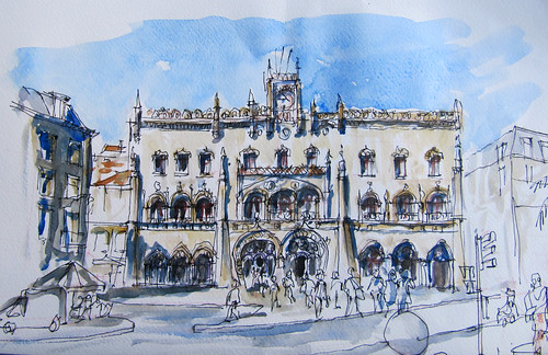 Photo of my sketch of Rossio Station for the silent auction by borromini bear