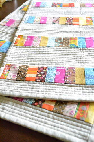close up on quilted placemats