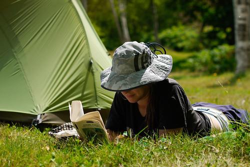 Relaxing in Kyogoku Camping Ground, Kyogoku, Hokkaido, Japan