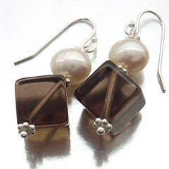 Smoky quartz and freshwater pearl earrings (Blue Forest Jewellery) Tags: uk blue brown white flower forest silver grey handmade gray cream jewelry jewellery cube handcrafted pearl sterling earrings smoky quartz freshwater