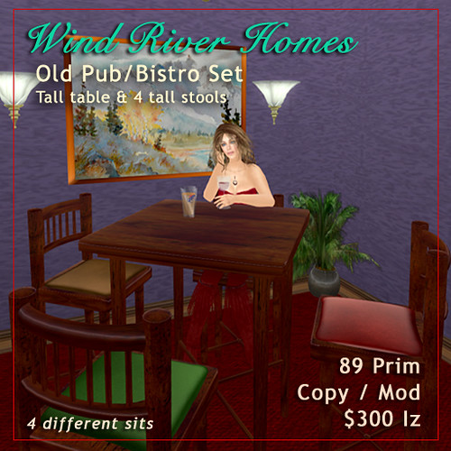Old Pub / Bistro Table & Stools Set by Teal Freenote
