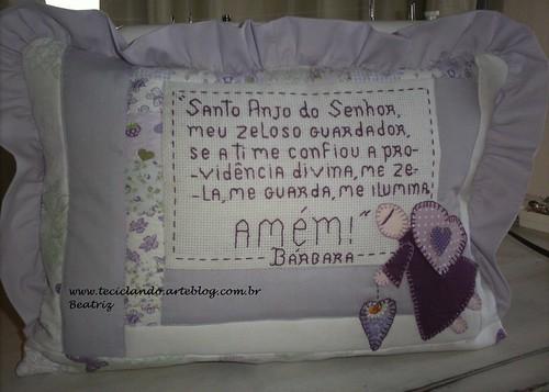 Almofada com oração anjo da guarda Bárbara by Teciclando artes em tecidos