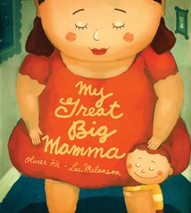The cover of My Great Big Momma shows a fat woman wearing a red short-sleaved dress. She has blush painted onto her cheeks, and is looking down at her son, who is hugging her leg with a big smile on his face.