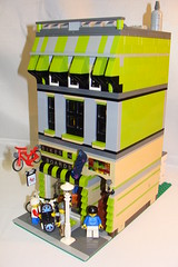 Bikes N Boards Side View 1 (notenoughbricks) Tags: bicycle lego marketstreet firebrigade bikeshop greengrocer skateshop grandemporium legocity cafecorner legomoc bikesnboards modulartown