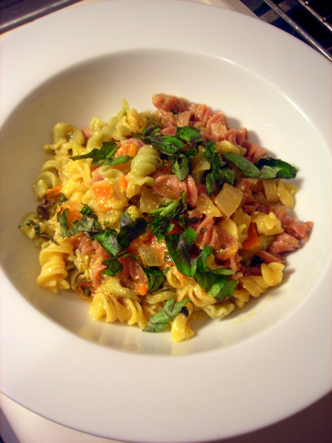 Fresh pasta, with heirloom tomatoes, slow-cooked onions and ricotta ...