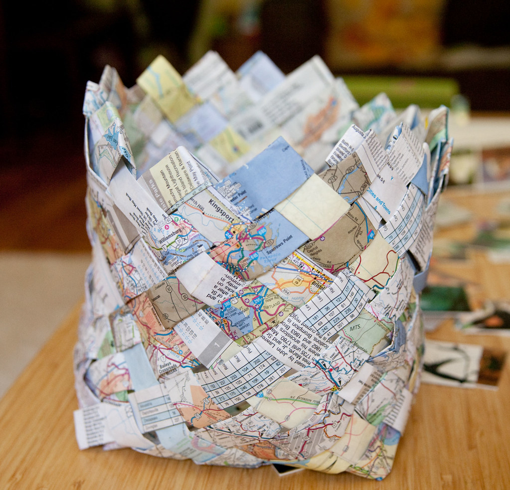 Upcycled Map Basket