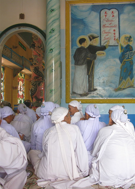 Cao Dai Nuns Awaiting Noon Prayers