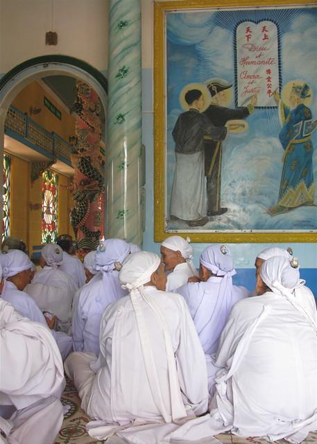 Cao Dai Nuns Awaiting Noon Prayers