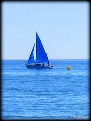Voilier dans le bleu (bleumarie (peu prsente cause maladie)) Tags: mer jaune vacances bleu ciel t bateau voile voilier tourisme plaisance saintemarie pyrnesorientales boue embarcation bleumarie mariebousquet photomariebousquet