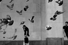 . (ngravity) Tags: street people bw canon blackwhite russia moscow candid pigeons streetphotography nocrop reactions moskva eos50d thedefiningtouch deftouch makrygiannakis