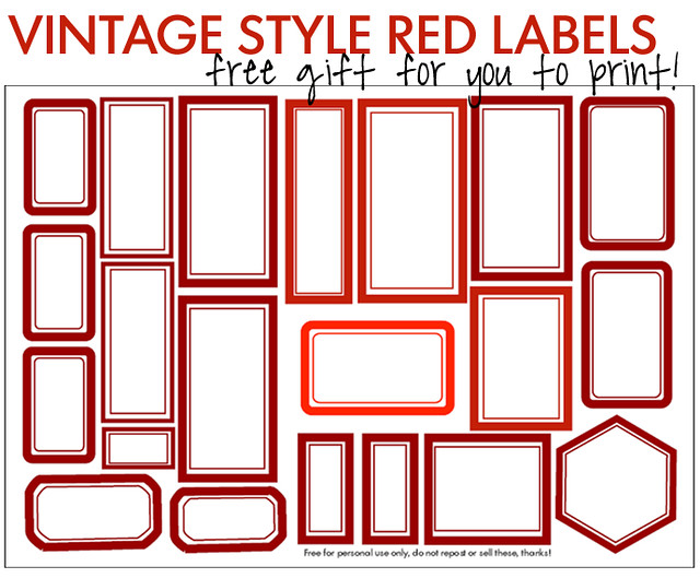 Red labels to print – Free Printable PDF