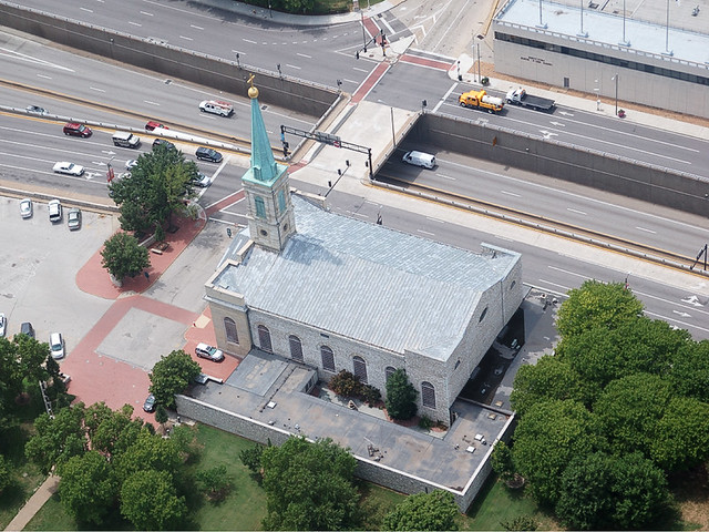 Basilica of Saint Louis, King of France, in downtown Saint Louis, Missouri, USA - view from the Gateway Arch