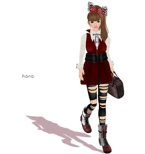 Halcali:::vest dress & leggings [red]