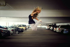 Ballerina Project (Danielle Pearce) Tags: city ballet cars dance jump jumping nikon ballerina c parking lot dancer d5000