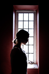 Day 64- In the Red (amandanpowell) Tags: red selfportrait window silhouette contrast campus vanderbilt 365