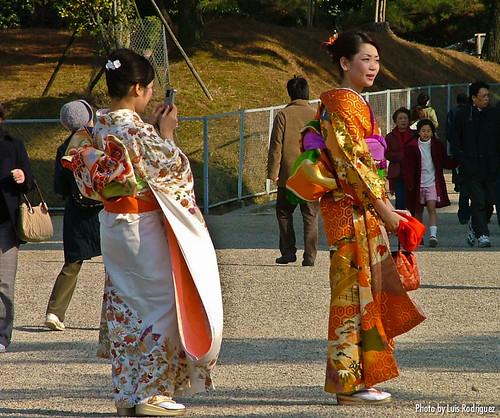 Vistiendo furisode en Nara por Año Nuevo