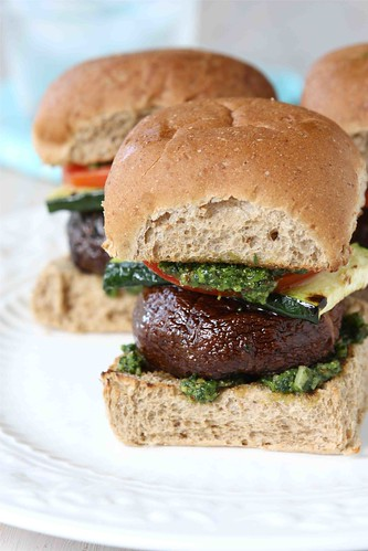 Grilled Mushroom Sliders with Zucchini & Cilantro Almond Pesto Recipe