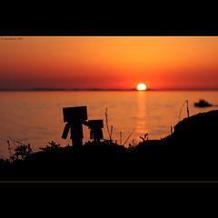 sunset with the Danbos (cornettino) Tags: sunset color toy croatia zadar danbo revoltech danboard