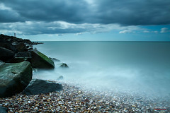 West Bay, Dorset with the Big Stopper (Milsy_Weymouth) Tags: water canon rocks stones pebbles lee 7d rubble westbay 1740l leefilters f365 canon7d bigstopper 10stopper