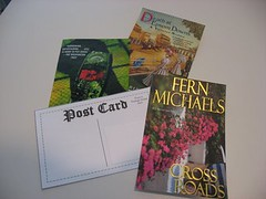 Postcards made with book covers