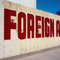 Foreign A (ADMurr) Tags: california blue red white la flag hasselblad 80mm ektar